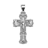 """Sterling Silver Elegant Russian Orthodox """"спаси и сохрани""""-Save and Protect Cross Pendant Necklace"""