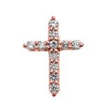 Elegant Rose Gold 1 Carat Round Cubic Zirconia Extra Small Cross Pendant Necklace