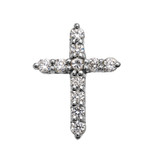 Elegant Sterling Silver 1 Carat Round Cubic Zirconia Extra Small Cross Pendant Necklace