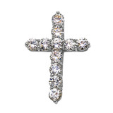 Elegant Sterling Silver 7 Carat Round Cubic Zirconia Cross Pendant Necklace (Large)