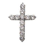 White Gold Elegant 12 Carat Round Cubic Zirconia Cross Pendant Necklace (Extra Large)