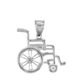 Sterling Silver Handicap Disability Awareness Wheelchair Pendant Necklace
