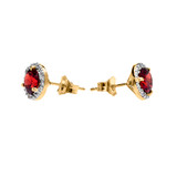 Halo Stud Earrings in Two Tone Yellow Gold with Solitaire Garnet and Diamonds