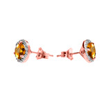Halo Stud Earrings in Two Tone Rose Gold with Solitaire Citrine and Diamonds