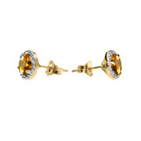 Halo Stud Earrings in Two Tone Yellow Gold with Solitaire Citrine and Diamonds