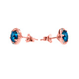 Halo Stud Earrings in Rose Gold with Solitaire London Blue Topaz and Diamonds