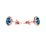 Halo Stud Earrings in Two Tone Rose Gold with Solitaire London Blue Topaz and Diamonds