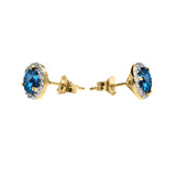 Halo Stud Earrings in Two Tone Yellow Gold with Solitaire London Blue Topaz and Diamonds