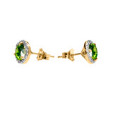 Halo Stud Earrings in Two Tone Yellow Gold with Solitaire Peridot and Diamonds