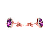 Halo Stud Earrings in Two Tone Rose Gold with Solitaire Amethyst and Diamonds