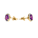 Halo Stud Earrings in Two Tone Yellow Gold with Solitaire Amethyst and Diamonds
