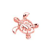 Rose Gold Diamond Hawaiian Lucky Charm Honu Turtle Hidden Bail Pendant Necklace