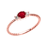 Dainty Solitaire Ruby and White Topaz Rope Design Promise/Stackable Ring In Gold  (Yellow/Rose/White)