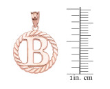 """Rose Gold """"B"""" Initial in Rope Circle Pendant Necklace"""