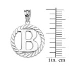 """Sterling Silver """"B"""" Initial in Rope Circle Pendant Necklace"""