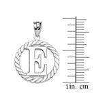 """White Gold """"E"""" Initial in Rope Circle Pendant Necklace"""