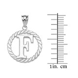 """Sterling Silver """"F"""" Initial in Rope Circle Pendant Necklace"""