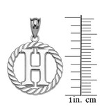 """White Gold """"H"""" Initial in Rope Circle Pendant Necklace"""