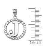 """White Gold """"J"""" Initial in Rope Circle Pendant Necklace"""