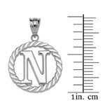 """White Gold """"N"""" Initial in Rope Circle Pendant Necklace"""