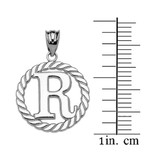 """Sterling Silver """"R"""" Initial in Rope Circle Pendant Necklace"""