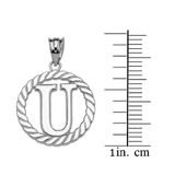"""Sterling Silver """"U"""" Initial in Rope Circle Pendant Necklace"""