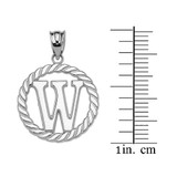 """Sterling Silver """"W"""" Initial in Rope Circle Pendant Necklace"""