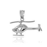 Polished Sterling Silver Helicopter Pendant Necklace