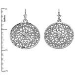 Sterling Silver Round Detailed Reversible Filigree Diamond Cut Dangling Earrings