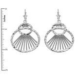 Sterling Silver Detailed Interlocking Circles Filigree Diamond Cut Dangling Earrings