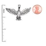 White Gold American Bald Eagle Pendant