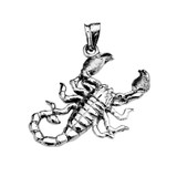 Sterling Silver Detailed Sideways Scorpion Pendant Necklace