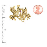 Yellow Gold Fighting Roosters Pendant