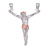 White Gold Crossless Crucifix Pendant Necklace (Large)