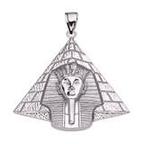 White Gold Detailed Egyptian Pyramid King Tut (Tutankhamun) Pendant Necklace