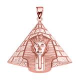 Rose Gold Detailed Egyptian Pyramid King Tut (Tutankhamun) Pendant Necklace