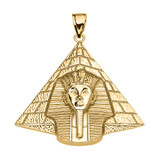 Yellow Gold Detailed Egyptian Pyramid King Tut (Tutankhamun) Pendant Necklace
