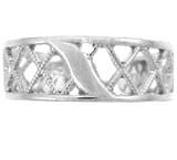 Silver Cross Hatch Toe Ring