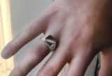 Sterling Silver Diamond Signet Men's Nugget Ring