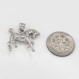 Polished Sterling Silver Stallion Horse Pendant Necklace