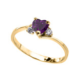 Dainty Yellow Gold Garnet And C.Z Heart Promise Ring