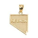 Yellow Gold Nevada State Map Pendant