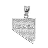 White Gold Nevada State Map Pendant