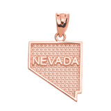 Rose Gold Nevada State Map Pendant