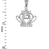 White Gold Quinceanera 15 Años CZ Pendant Necklace