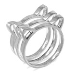 White Gold Kitten Silhouette Ladies Stackable Ring Band