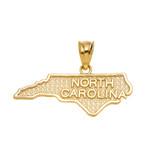 Yellow Gold North Carolina State Map Pendant Necklace