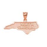Rose Gold North Carolina State Map Pendant Necklace