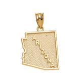 Yellow Gold Arizona State Map Pendant Necklace