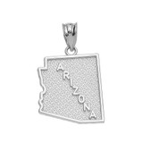 Sterling Silver Arizona State Map Pendant Necklace